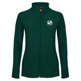 Ladies Fleece Full Zip Dark Green Jacket-S Mark