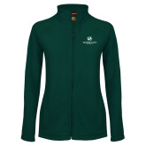 Ladies Fleece Full Zip Dark Green Jacket-Stacked Logo