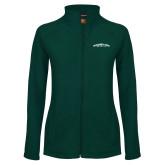 Ladies Fleece Full Zip Dark Green Jacket-Arched Sacramento State Hornets
