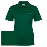 Ladies Dark Green Dry Mesh Polo-Official Logo Flat