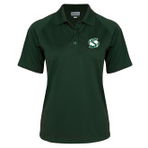 Ladies Dark Green Textured Saddle Shoulder Polo-S Mark