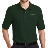 Dark Green Easycare Pique Polo-Official Logo Flat