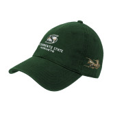 Dark Green Twill Unstructured Low Profile Hat-Stacked Logo