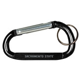 Black Carabiner with Split Ring-Sacramento State Engraved