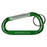 Green Carabiner with Split Ring-Sacramento State Engraved