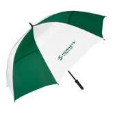 62 Inch Forest Green/White Umbrella-Official Logo Flat