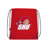 Red Drawstring Backpack-Secondary Logo