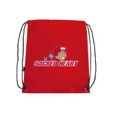 Red Drawstring Backpack-Sacred Heart w/ Pioneer