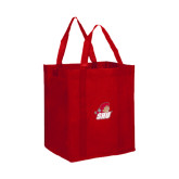 Non Woven Red Grocery Tote-Secondary Logo