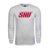 White Long Sleeve T Shirt-Primary Logo