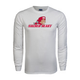White Long Sleeve T Shirt-Sacred Heart w/ Pioneer