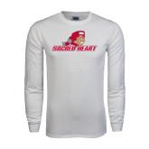 White Long Sleeve T Shirt-Sacred Heart w/ Pioneer