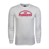 White Long Sleeve T Shirt-Pioneers Football Horizontal