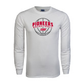 White Long Sleeve T Shirt-Pioneers Basketball Arched w/ Ball