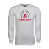 White Long Sleeve T Shirt-Sacred Heart Basketball Stacked