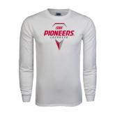 White Long Sleeve T Shirt-Pioneers Geometric Lacrosse Head
