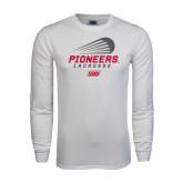 White Long Sleeve T Shirt-Pioneers Lacrosse Modern