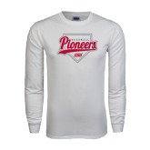 White Long Sleeve T Shirt-Pioneers Baseball Script w/ Plate