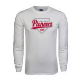 White Long Sleeve T Shirt-Pioneers Baseball Script w/ Plate