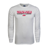 White Long Sleeve T Shirt-Track & Field w/ Bar