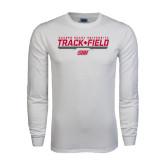 White Long Sleeve T Shirt-Track & Field w/ Bar