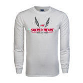 White Long Sleeve T Shirt-Sacred Heart Track & Field Abstract Wings