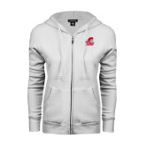 ENZA Ladies White Fleece Full Zip Hoodie-Secondary Logo