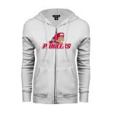 ENZA Ladies White Fleece Full Zip Hoodie-Pioneers w/ Pioneer