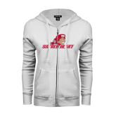 ENZA Ladies White Fleece Full Zip Hoodie-Sacred Heart w/ Pioneer