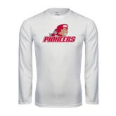 Performance White Longsleeve Shirt-Pioneers w/ Pioneer