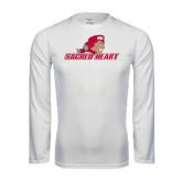Performance White Longsleeve Shirt-Sacred Heart w/ Pioneer