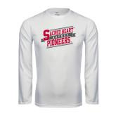 Performance White Longsleeve Shirt-Sacred Heart Hockey Slanted w/ Banner