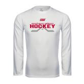 Performance White Longsleeve Shirt-SHU Hockey Crossed Sticks