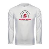 Performance White Longsleeve Shirt-Sacred Heart Basketball Stacked