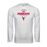 Performance White Longsleeve Shirt-Pioneers Geometric Lacrosse Head