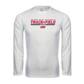 Performance White Longsleeve Shirt-Track & Field w/ Bar