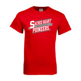 Red T Shirt-Sacred Heart Hockey Slanted w/ Banner