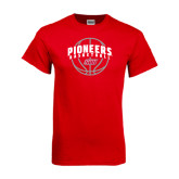 Red T Shirt-Pioneers Basketball Arched w/ Ball