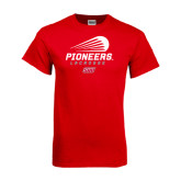 Red T Shirt-Pioneers Lacrosse Modern