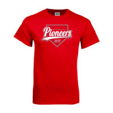 Red T Shirt-Pioneers Baseball Script w/ Plate