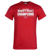 Red T Shirt-2018 Womens Hockey Champions