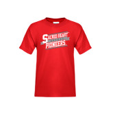 Youth Red T Shirt-Sacred Heart Hockey Slanted w/ Banner