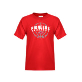 Youth Red T Shirt-Pioneers Basketball Arched w/ Ball