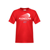 Youth Red T Shirt-Pioneers Lacrosse Modern