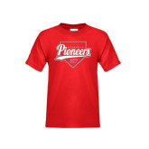Youth Red T Shirt-Pioneers Baseball Script w/ Plate