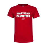 Youth Red T Shirt-2018 Womens Hockey Champions