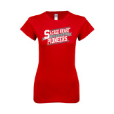 Next Level Ladies SoftStyle Junior Fitted Red Tee-Sacred Heart Hockey Slanted w/ Banner
