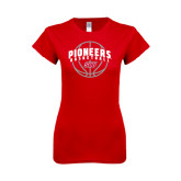 Next Level Ladies SoftStyle Junior Fitted Red Tee-Pioneers Basketball Arched w/ Ball
