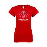 Next Level Ladies SoftStyle Junior Fitted Red Tee-Sacred Heart Basketball Stacked