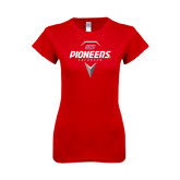 Next Level Ladies SoftStyle Junior Fitted Red Tee-Pioneers Geometric Lacrosse Head